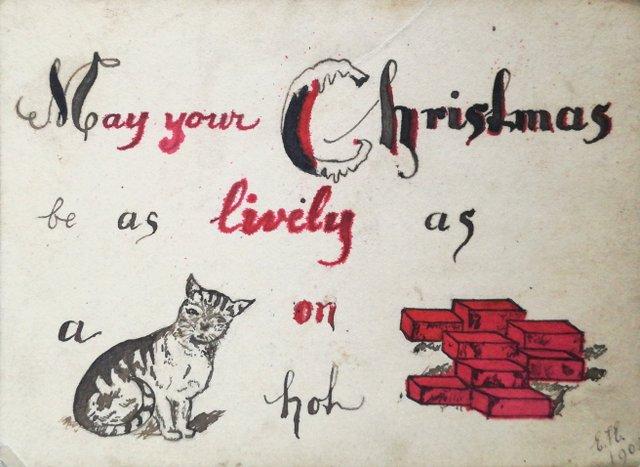 Handmade vintage christmas card