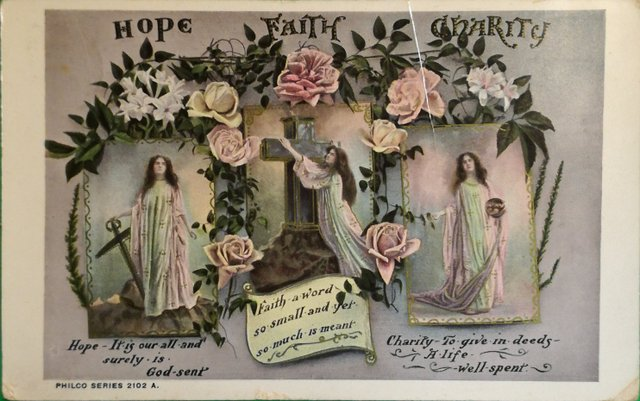 Vintage postcard: Hope, Faith and Charity