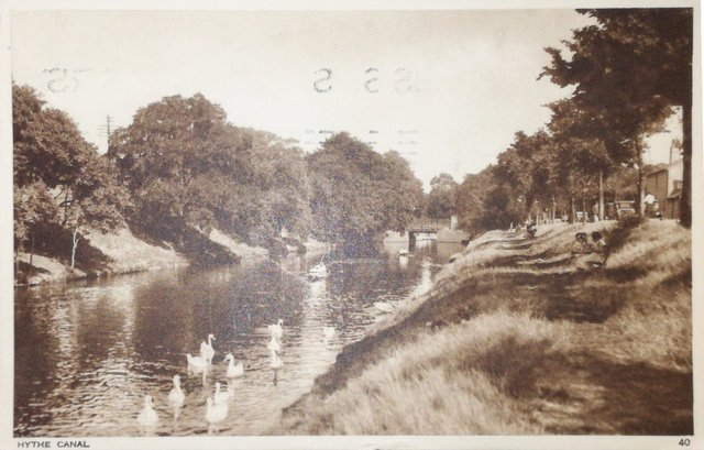 Vintage postcard of the Hythe Canal, Kent