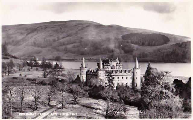 Vintage postcard of Inveraray Castle and Loch Fyne