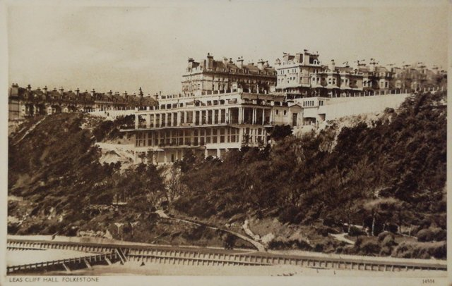 Old postcard of the Leas Cliff Hall, Folkestone, Kent