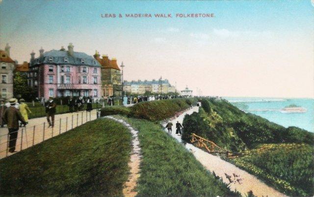 Leas and Maderia Walk, Folkestone, Kent, vintage image