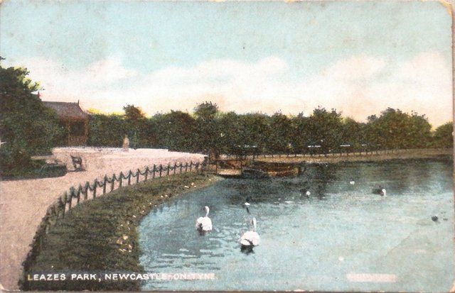 Vintage postcard of Leazes Park, Newcastle on Tyne