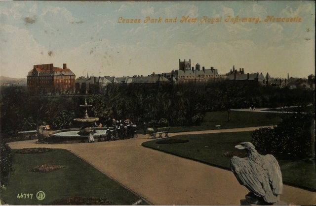 Vintage postcard of Leazes Park and new Royal Infirmary, Newcastle