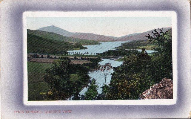 Vintage postcard of Loch Tummel, Queens View.
