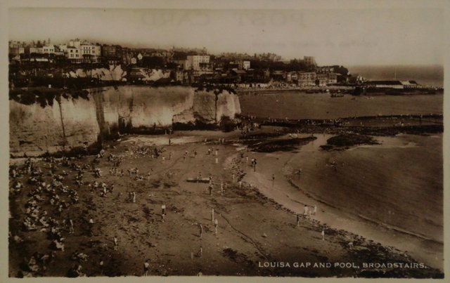 Louisa Gap and Pool, Broadstairs, Kent, vintage postcard