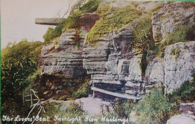 Vintage postcard of The Lovers Seat, Fairlight Glen, Hastings