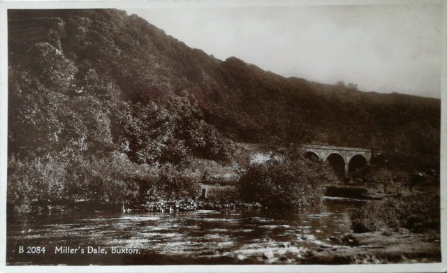Vintage postcard of Miller's Dale, Buxton, Derbyshire