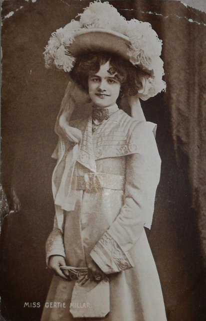Miss Gertie Millar. Publisher: Davidson Bros, Vintage postcard
