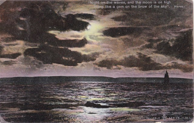 Vintage postcard of a moody sea and night sky