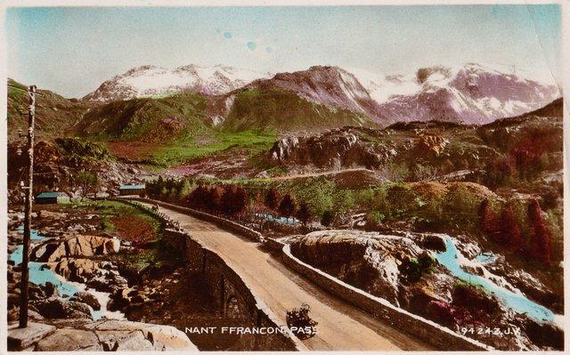 Vintage postcard of Nant Ffrancon Pass, Snowdonia, Wales