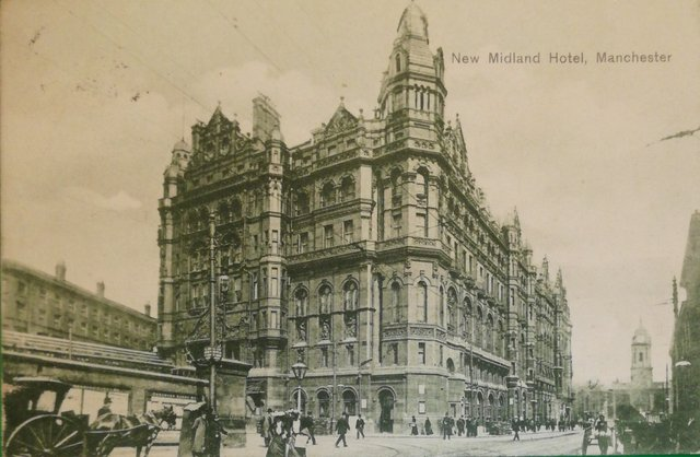 Vintage postcard of the New Midland Hotel, Manchester