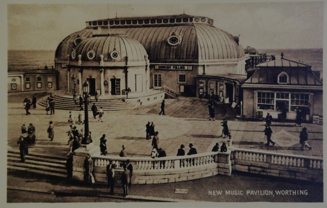 New Music Pavilion, Worthing, Sussex, vintage postcard