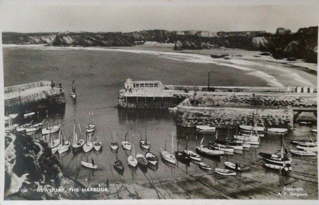 Vintage postcard of Newquay, Cornwall the Harbour