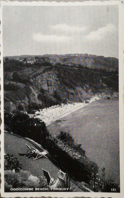 Vintage postcard of Oddicombe Beach, Torquay, Devon