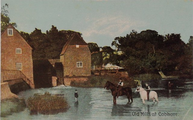 Vintage postcard of Old Mills at Cobham, Surrey