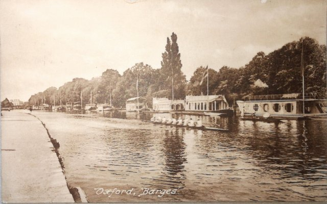 Vintage postcard of Oxford Barges