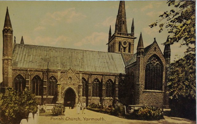 Parish Church, Yarmouth, Norfolk, old postcard