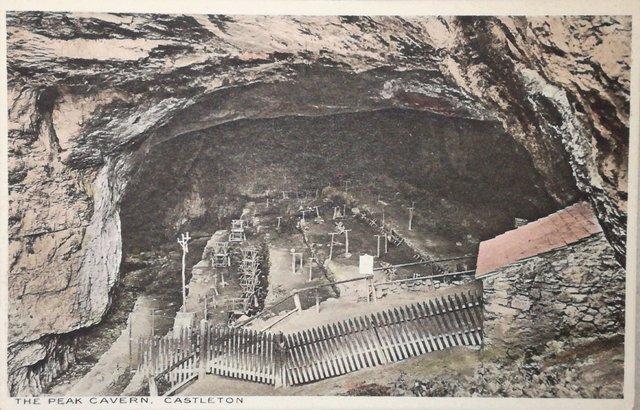 Vintage postcard of the Peak Cavern, Castleton