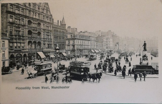 Vintage postcard: Piccadilly from West, Manchester