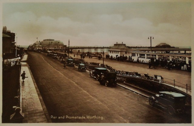 Pier and Promenade, Worthing, vintage postcard
