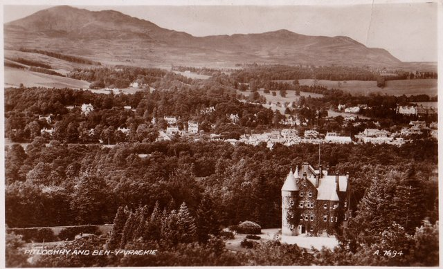 Vintage postcard of Pitlochry and Ben-Y-Vrackie, Perthshire