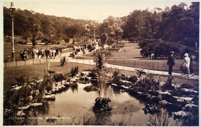 Pleasure Gardens, Bournemouth, Dorset, vintage postcard
