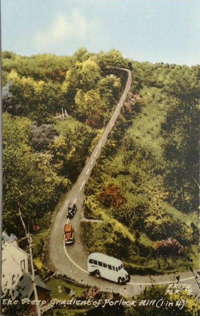 Porlock Hill, Somerset, retro postcard