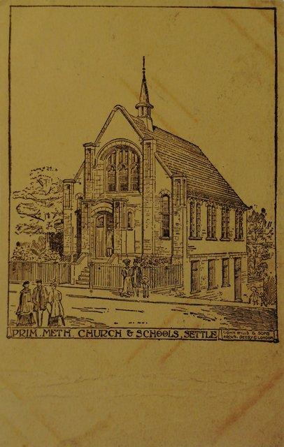 Primitive Methodist Church and Schools, Settle, Yorkshire, old postcard