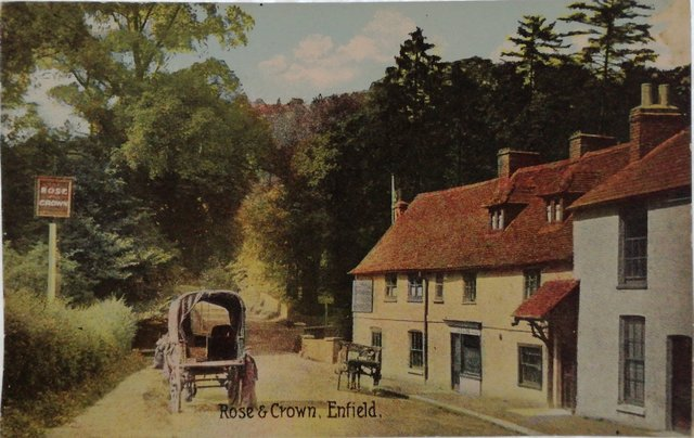 Vintage postcard of the Rose and Crown, Enfield, Middlesex