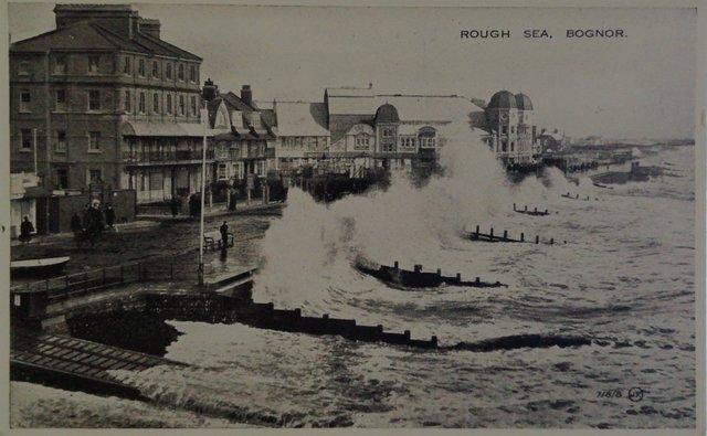 Rough Sea, Bognor, Sussex, vintage postcard