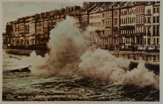 Rough Sea, Marina, St Leonards on Sea, vintage postcard