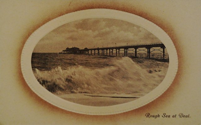 Rough Sea at Deal, Kent, vintage postcard