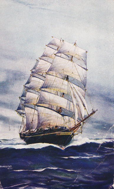 Vintage postcard of a sailing ship