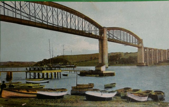 Vintage postcard of Saltash Bridge, Plymouth, Devon
