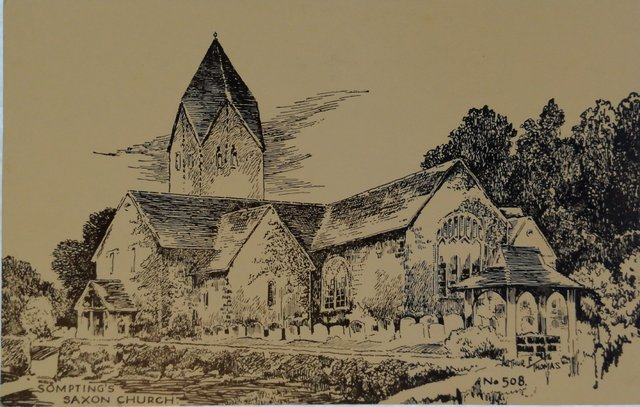 Sompting's Saxon Church, Sussex, old postcard