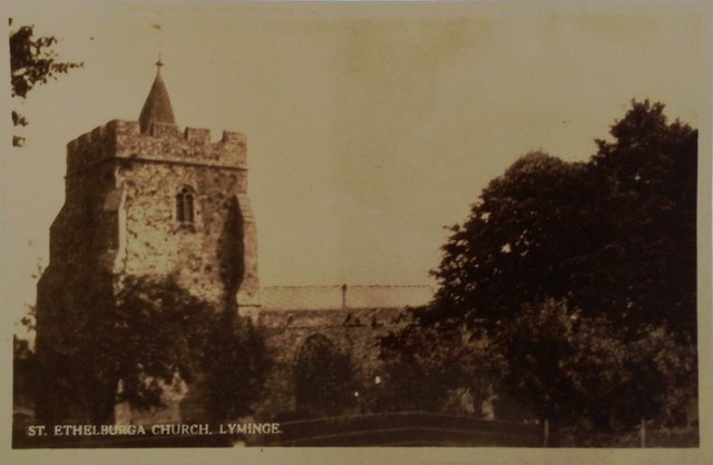 St Ethelburga Church, Lyminge, Kent, old postcard
