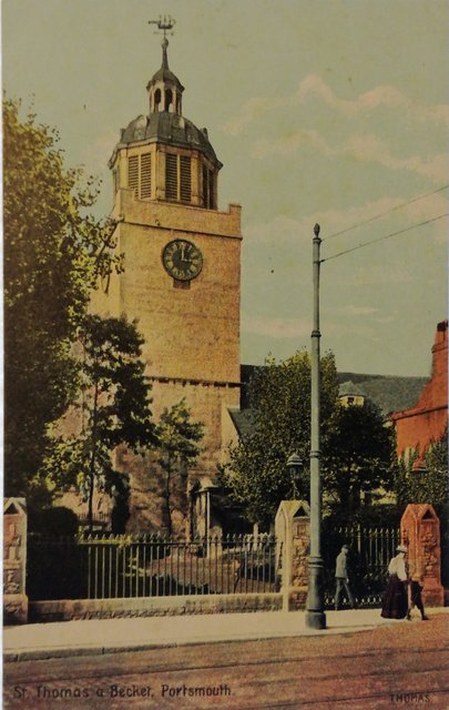 St Thomas a Becket Church, Portsmouth, Hampshire, old postcard