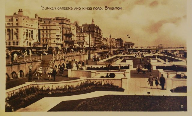 Sunken Gardens and Kings Rd, Brighton, old postcard