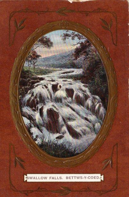 Vintage postcard, Shallow Falls, Betws Y Coed