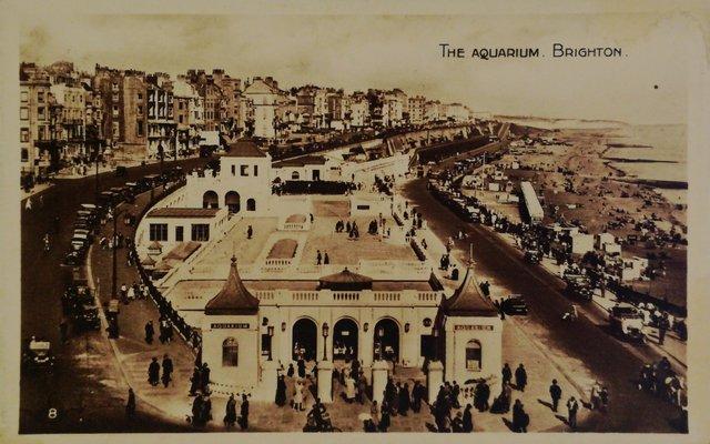 The Aquarium, Brighton, vintage postcard