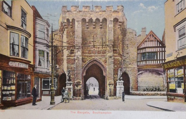 Vintage postcard of The Bargate, Southampton, Hampshire