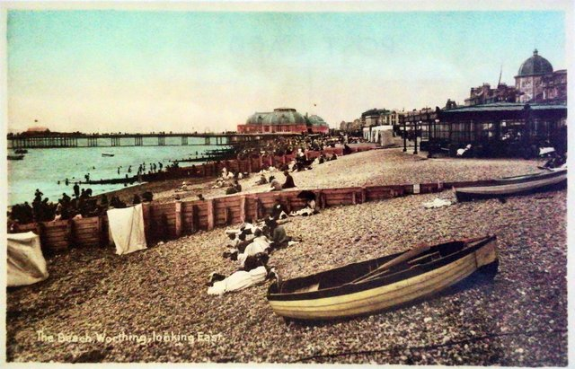 The Beach, Worthing, Sussex looking East, vintage postcard