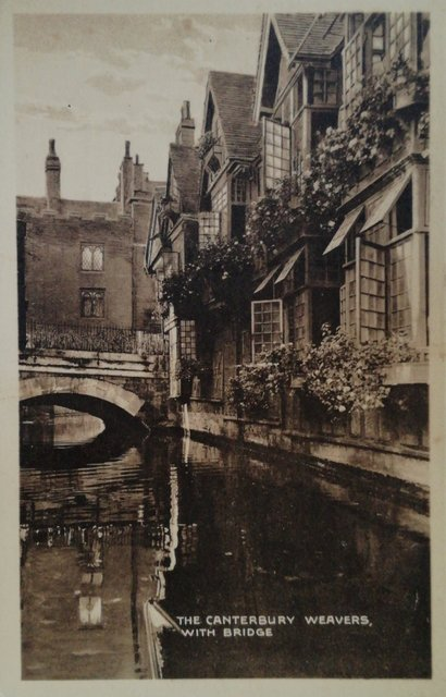The Canterbury Weavers with Bridge, Kent, old postcard