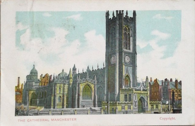 Vintage postcard of The Cathedral, Manchester