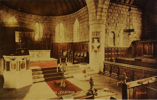 The Chancel, Crathie Church, Balmoral, Aberdeenshire, old postcard