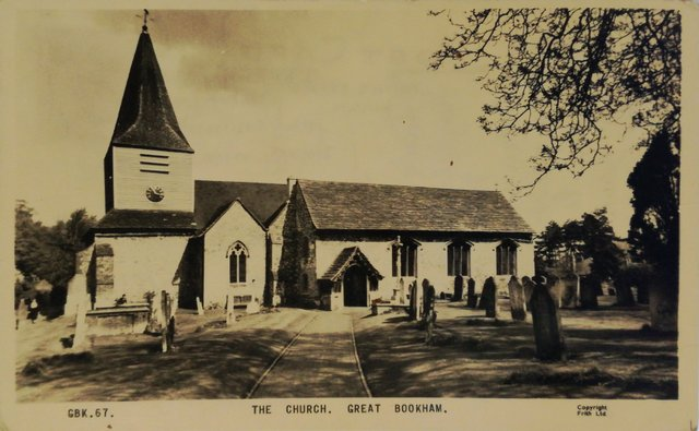 The Church, Great Bookham, Surrey, old postcard