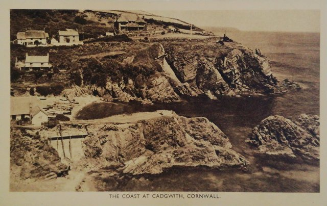 The Coast at Cadgwith, Cornwall, vintage postcard