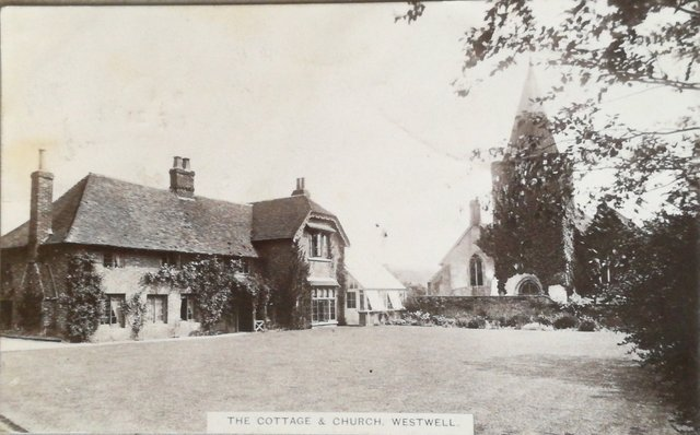 Vintage postcard of the cottage and church Westwell, Kent