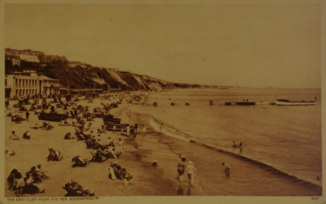 The East Cliff from the Pier, Bournemouth, old postcard
